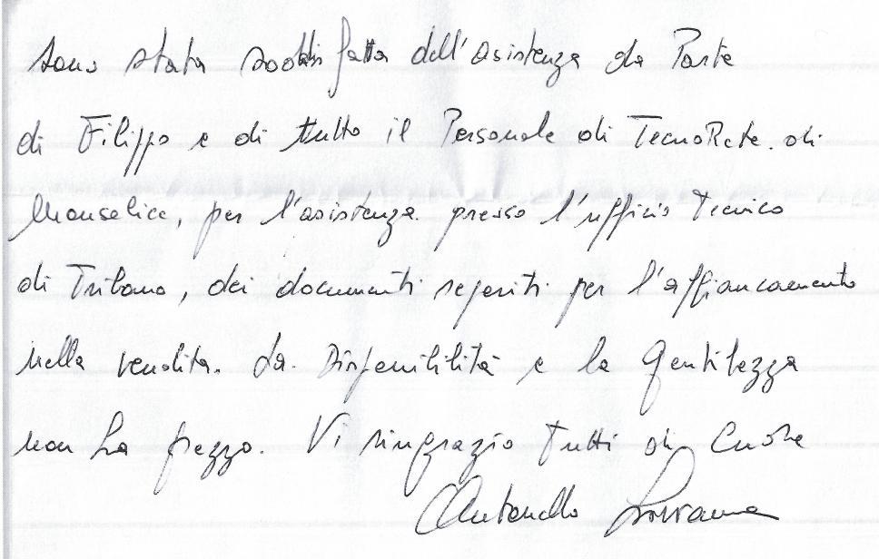 messaggio di soddisfazione sig.ra Antonello Livianna