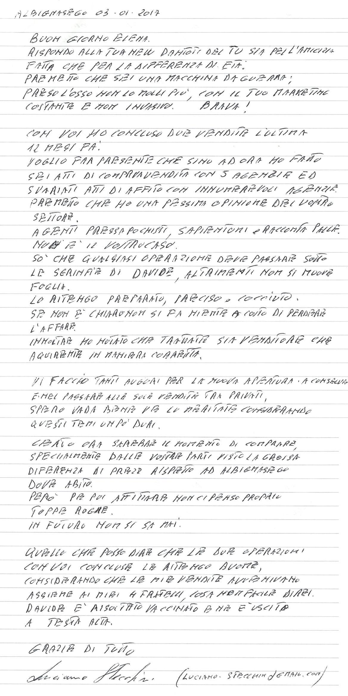 lettera di testimonianza sig. Stecchini Luciano