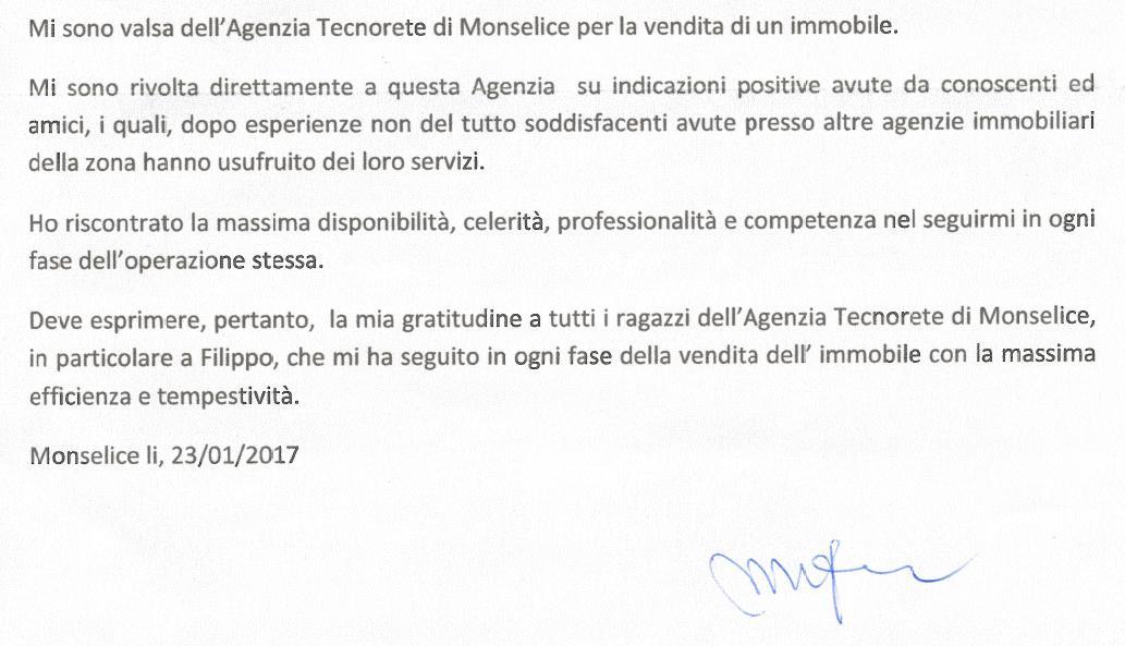 testimonianza venditore casa singola monselice maggio 2014