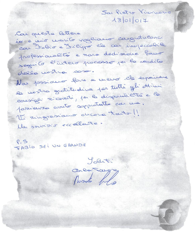 testimonianza clienti venditori villa a schiera, giugno 2016